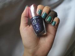 Verde Ninja (Colorama) + 45 (AR) (Daniela nailwear) Tags: verdeninja colorama assupercores verde cremoso ar 45 glitter roxo esmaltes esmalteimportado mãofeita
