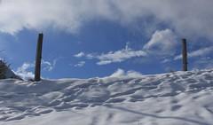 les piquets (bulbocode909) Tags: valais suisse vollèges lepettet valdentremont montagnes nature hiver neige nuages piquets bleu ciel traces