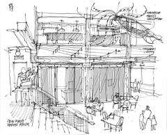 Pike Place Market Atrium (andika.murandi) Tags: sketch seattle pikeplacemarket blackandwhite sketchbook urbansketchers uskseattle urbansketchersseattle