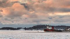 A morning with the boats - 1 (Heartforestphotography) Tags: winter ice sea balticsea sunrise ship helsinki finland katajanokka clouds