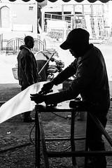 Metal Work (toletoletole (www.levold.de/photosphere)) Tags: fujixt2 marokko zagora2011 zagora morocco silhouettes gegenlicht backlight man strasenszene silhouetten bw street streetscene maroc silhouette handwerker jungermann portrait strase candid sw porträt fuji people menschen