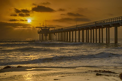 Scripps Pier Sunset (damiendavis) Tags: ocean california sunset beach la san surf pacific diego jolla