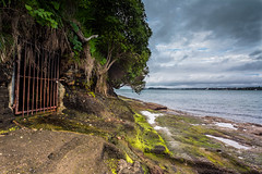 The Gate In The Hillside (duncan_mclean) Tags: trees sea seascape landscape moss gate rocks iron shoreline auckland shore hdr northhead devonport rockpools