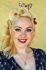 Seriously Pretty (brackenb) Tags: red house girl smile southwales wales pretty eyelashes blueeyes nelson event 1940s blond lipstick manor hairstyle reenactment youngwoman livinghistory llancaiachfawr themanoratwar wishthebackgroundwasntthesamecolourasherhair