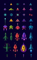 SpaceColonizers / Spaceships (Juan Casini) Tags: illustration space games ufo aliens galaxy vector invaders spaceships ipad