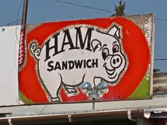 Ham Sandwich, Butte, MT (Robby Virus) Tags: sign rock shop restaurant pig store montana butte ham meat former sanwich