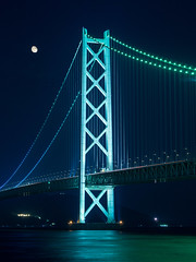 PhoTones Works #3480 (TAKUMA KIMURA) Tags: bridge light moon nature up japan night landscape scenery view     akashi kimura     takuma  kaikyo   ep5 photones