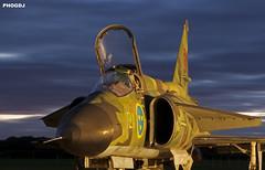SAAB Viggen awaits night op's (Aviation-Pictures.co.uk) Tags: museum night plane shoot jet swedish newark saab viggan
