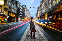 Girl in London Traffic (Anatoleya) Tags: city 3 london girl strand canon prime traffic mark f14 iii 5d 24mm hdr f14l 5d3 anatoleya