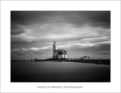 Horse of Marken (Peter de Bock (exploring)) Tags: longexposure light blackandwhite bw horse cloud sun lighthouse black holland building art monument netherlands dutch architecture clouds zeiss canon landscape 50mm mood zee architect le lee carl 5d canon5d lucht monuments dijk zwart zon vuurtoren marken ijsselmeer architectuur landschap eiland paard zw wolk carlzeiss paardvanmarken pdbfoto peterdebock