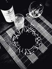 Le Soir Noir (Laramarinara) Tags: blackandwhite bw black night dinner noir wine soir massandra iphone5 noirfilter uploaded:by=flickrmobile flickriosapp:filter=noir