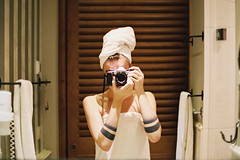 Hotel room. (Hello i'm Wild !) Tags: selfportrait reflection film girl tattoo analog ink self 35mm bathroom mirror hands skin filmcamera canonae1 hotelroom selfie europapark fujisuperia400iso hotelbellrock vision:text=0778