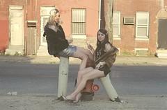 Untitled (Jon Applebaum) Tags: street girls amanda brick film philadelphia fashion birds 35mm canon vintage fur women legs kodak ae1 jill champagne style class retro gals vision:text=0511 vision:outdoor=0841