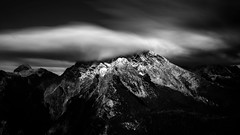Majestic Watzmann (Daniel_Ernst) Tags: bw white black mountains photoshop canon germany landscape eos 50mm prime berchtesgaden long exposure day cloudy sigma filter landschaft density 6d neutral langzeitbelichtung knigssee watzmann