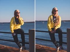 Jesse at the battery (Colin Robison) Tags: girls light sunset sun sc girl sunglasses contrast nikon natural dusk south 14 battery 85mm sigma charleston blond blonde carolina chs sweetlight 843