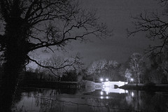 Night Photography (Frank Schmidt) Tags: bridge trees blackandwhite bw lake night canon out landscape denmark photography eos photo foto view photos outdoor picture l nights nightphoto bro danmark vand aften mirroring sorthvid ef1740mm eos7d