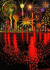 Fireworks (LivFree) Tags: city sky abstract color reflection skyline night contrast painting stars neon acrylic fireworks psychedelic