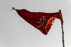 Temple Flag (gauravs82) Tags: india sunrise river dawn flag hinduism ganga ganges mela sangam shri allahabad prayag uttarpradesh yamuna kumbh triveni