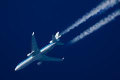 KLM McDonnell Douglas MD-11 PH-KCA (Thames Air) Tags: klm mcdonnell douglas md11 phkca contrails telescope dobsonian overhead vapour trail