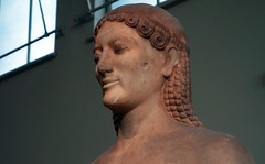 Anavysos Kouros, detail of head, c. 530 B.C.E.