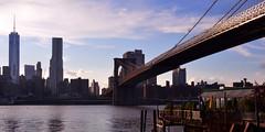 Brooklyn to Manhattan (thpwilliams) Tags: new york city nyc newyorkcity bridge summer vacation urban building water skyline brooklyn skyscraper river nikon waves east crop brooklynbridge cropped wtc eastcoast d3200 20x10
