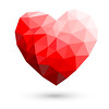 Red Heart Polygonal Abstract On White Backgrounds Vector Illustration