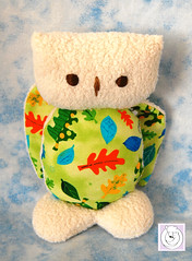 "little owl-white-leaves 7"" (Polar Bear Creations Dolls) Tags: bird natural owl babyshower softtoy babytoy eule naturaltoy"