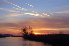 The best time of the day (brittajohansson) Tags: sunrise dawn waterscape landscape early winter february trees sky clouds sun water silhouttes