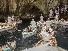 F5155E7 - Boat Traffice Jam at the Blue Grotto (Bob f1.4) Tags: blue grotto isle capri italian coast italy europe trip water row boats traffice jam boat people waiting cave entrence rowboat