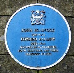 Manchester Cathedral, England (rossendale2016) Tags: manchester cathedral england lancashire religious religion stone built old structure ancient seat learning architectural plaque iron cast blue monumental john bradford edward barlow martyred their beliefs natives local shield