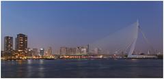 De Erasmusbrug in Rotterdam tijdens het 'blauwe uurtje' op 18 februari 2017 .... (Martha de Jong-Lantink) Tags: 2017 erasmusbrug fotograferenmetdeplaatjesmakers plaatjesmakers rotterdam blauweuur blauweuurtje bijnaamdezwaan kopvanzuid benvanberkel ontwerperbenvanberkel nieuwemaas nederlandsepriesterenhumanisterasmus priesterenhumanisterasmus