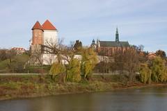 Wzgórze Zamkowe i Katedralne w Sandomierzu z Bulwaru Marszałka Piłsudskiego