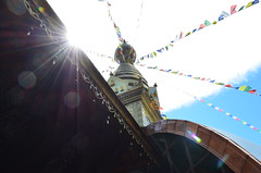 Rays of Sunlight (BulletGirl) Tags: sunlight temple buddhism sunrays wiesent nepalhimalayapark