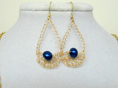 blue pearl and gold crescent earrings (cindycreativecrochet) Tags: blue wire handmade crochet jewelry drop canadian crescent pearl earrings saskatchewan cindyscreativecrochet