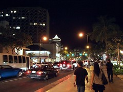 Night in Waikiki (chadyosh) Tags: night hawaii waikiki oahu honolulu avenue royalhawaiian beachwalk kalakaua lewers firsthawaiianbank