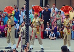 The Wagah border closing 'lowering of the flags' ceremony