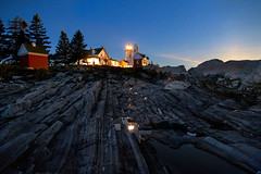 Pemaquid and a Sprinkle of Stars (SunnyDazzled) Tags: longexposure trees light sky lighthouse seascape nature water pool station night reflections bristol stars point landscape maine fir pemaquid blend takenin2layers