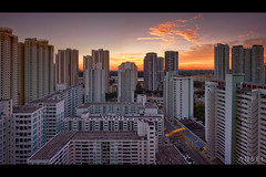 Urban Romance MKII (draken413o) Tags: travel sunset panorama skyline architecture digital singapore asia colours cityscapes lee filters residential hdb hdr toa blending destinations payoh gnd