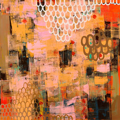 catching strawberries (Junko Yamamoto) Tags: seattle abstract art japanese colorful artist strokes brush canvas calligraphy oilpainting bold junkoyamamoto
