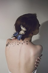 Pale Spring (BiCharlotte) Tags: pink blue red white girl birds butterfly freedom back spring colours skin pale spine tatoo