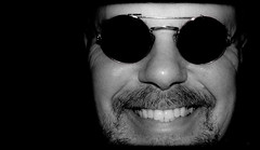 Smiles. . . (CWhatPhotos) Tags: pictures camera light shadow portrait sun white me monochrome smile pen self dark that lens beard four photography mono goatee glasses blackwhite foto image artistic pics teeth picture pic olympus images have photographs photograph fotos round penn grin 28 pancake which f28 contain smiler thirds 17mm cwhatphotos epl5