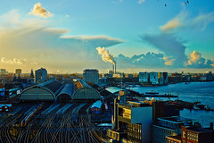 Clouds - Amsterdam (Vlad photos) Tags: bridge sunset sky urban industry water amsterdam architecture clouds train reflections harbor boat smoke ships transport silhouettes railway canals mygearandme nex7