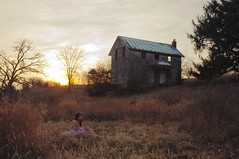 (yyellowbird) Tags: sunset house selfportrait fall abandoned girl field outside illinois yeah cari
