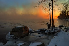 Icy sunrise on Bate Island (beyondhue) Tags: winter sun ontario canada cold ice rock sunrise river landscape quebec ottawa bate siland beyondhue