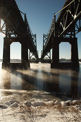 Twin Bridges (Brandon VK) Tags: bridge winter snow iowa mississippiriver bettendorf quadcities i74