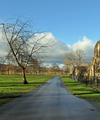 Kirkstall Abbey, Leeds (littlestschnauzer) Tags: uk blue trees winter sky cold abbey clouds path yorkshire leeds january elements kirkstall depth grounds pathway parkland 2014