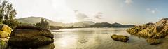 Thong Nai Pan beach, panorama (Julie. D) Tags: light sunset sea panorama sun mer nature landscape thailand nikon rocks pano paysage plage rocher kophangan thailande couchdesoleil ocan autopano thongnaipanbeach d3100 visio