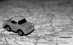 on the road! (brescia, italy) (bloodybee) Tags: road city venice bw italy macro car wheel toy town europe map venezia veneto micromachines 365project vision:mountain=0654 vision:outdoor=0847 vision:sky=0791 vision:clouds=0854