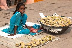 Flower girl with baskets (Dick Verton ( more than 13.000.000 visitors )) Tags: travel blue india girl children asia sitting streetlife streetscene baskets sit varanasi streetview streetshot dickverton