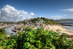 Looe River and Town Beach, South East Cornwall (rosiespoonerphotos) Tags: panorama hdr townbeach photomatix eastlooe hannafore westlooe rosiesphotos riverlooe nikond5000 tamronspaf1024mmf3545diiildasphericalif 1flickrmaybe rosiespooner rosyrosie2009 rosemaryspooner rosiespoonerphotography 1aacards4